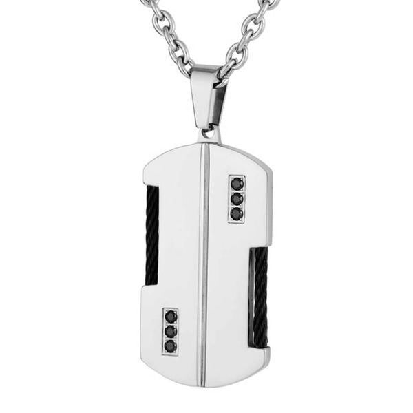 Men's Two-Tone Braided Wire Black CZ Dog Tag Pendant Necklace, Stainless Steel, 24""