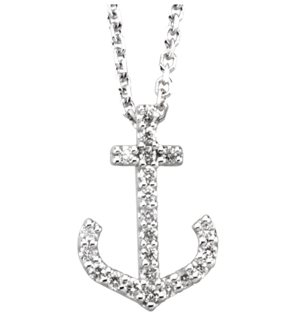 "Rhodium-Plate 14k White Gold Diamond Anchor Necklace, 16"" (.11 Ctw, GH Color, I1 Clarity)"