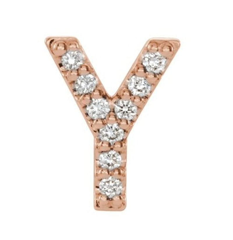 14k Rose Gold Diamond Letter 'Y' Initial Stud Earring (Single Earring) (.04 Ctw, GH Color, I1 Clarity)
