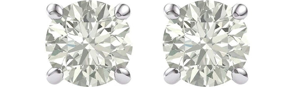 Charles & Colvard Forever Brilliant 8MM Moissanite Solitaire Earrings, Rhodium-Plated 14k White Gold