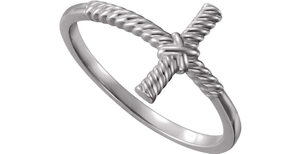 Sideways Rope Cross Rhodium Plated 14k White Gold Ring