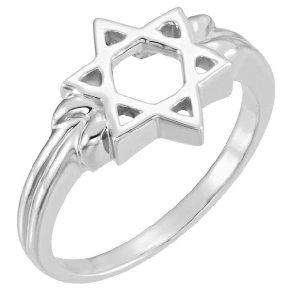 Star of David Silhouette 12mm Semi-Polished 14k White Gold Ring, Size 7