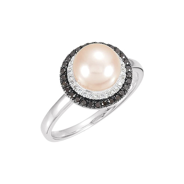 Pinkish-White Freshwater Cultured Pearl, Black and White Diamond Halo Ring, Rhodium-Plated and Black Rhodium-Plated, 14k White Gold (8mm)(0.25 Ctw, Color H-I, Clarity I1)