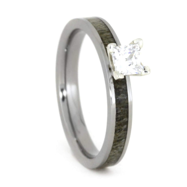 Princess-Cut Diamond, Deer Antler 4mm Comfort-Fit Titanium Engagement Ring