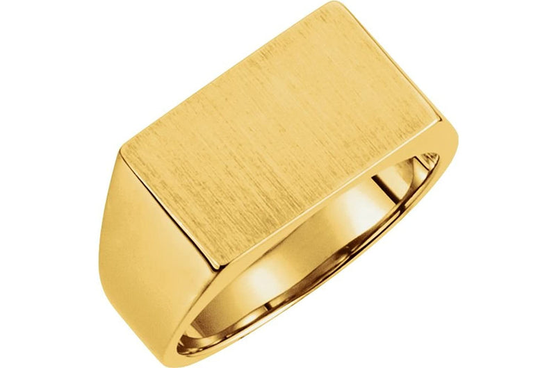 Men's Brushed Semi-Polished 10k Yellow Gold Signet Pinky Ring (9x15mm) Size 6