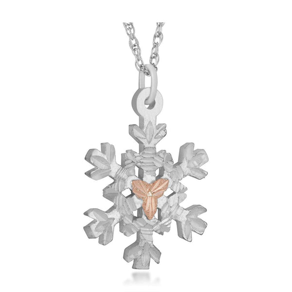 Snow Flake Pendant Necklace, Sterling Silver, 12k Green and Rose Gold Black Hills Gold Motif, 18''