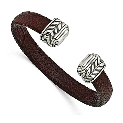 Men's Carbon Fiber Collection Red Chevron Carbon Fiber, Stainless Steel 10.5mm Cuff Bangle Bracelet