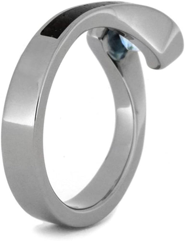 Aquamarine Tension-Set Ring and Ebony Wood, Gibeon Meteorite, Guitar String Titanium Band, His and Hers Rings M 12.5-F8.5