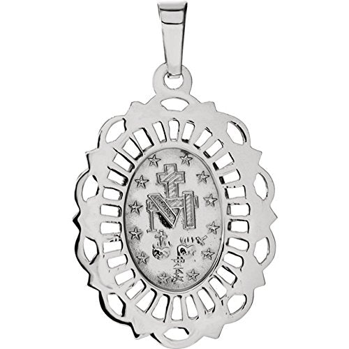 14k White Gold Oval Filigree Miraculous Medal (22x15.5 MM)