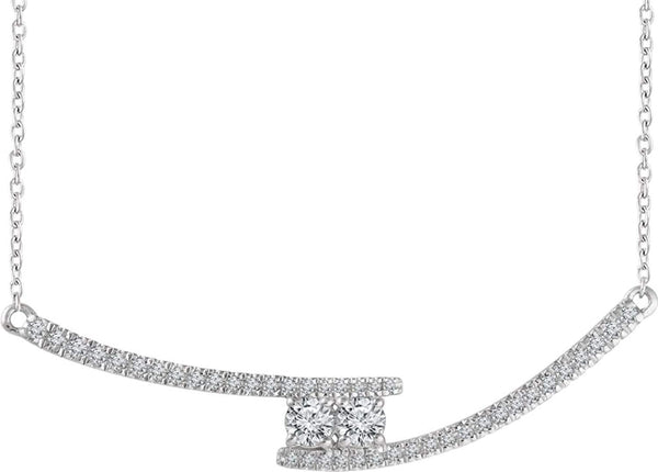 "Diamond Two-Stone Bar Necklace in Rhodium-Plated 14k White Gold, 16-18"" (3/8 Ctw, Color H+, Clarity I1)"