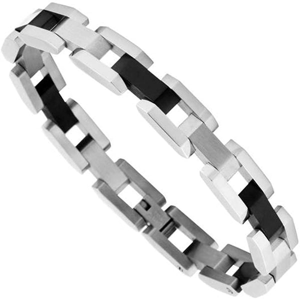 Men's Two-Tone Black Ion Plated Links Bracelet, Stainless Steel, 8.5""