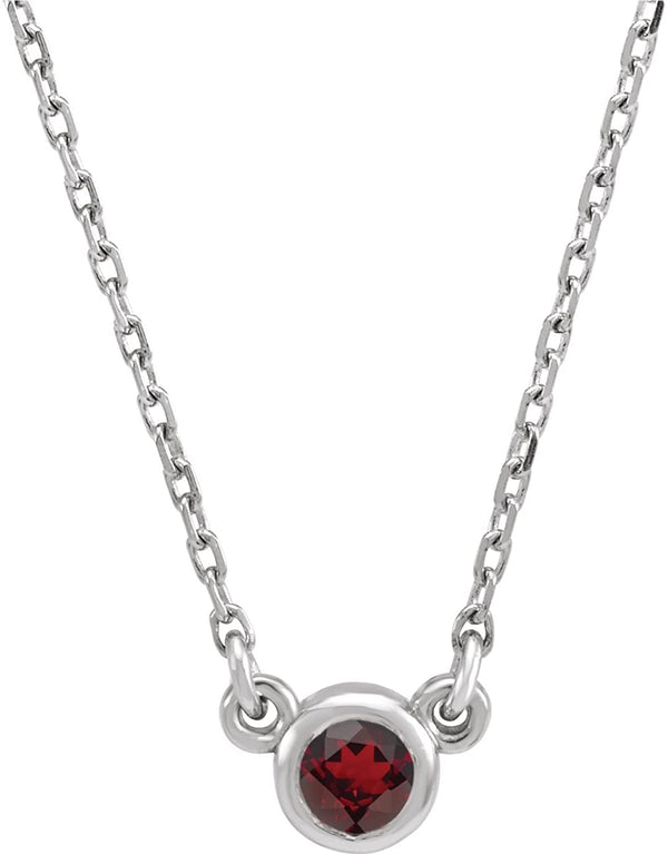 Mozambique Garnet Solitaire Rhodium Plate 14k White Gold Pendant Necklace, 16""