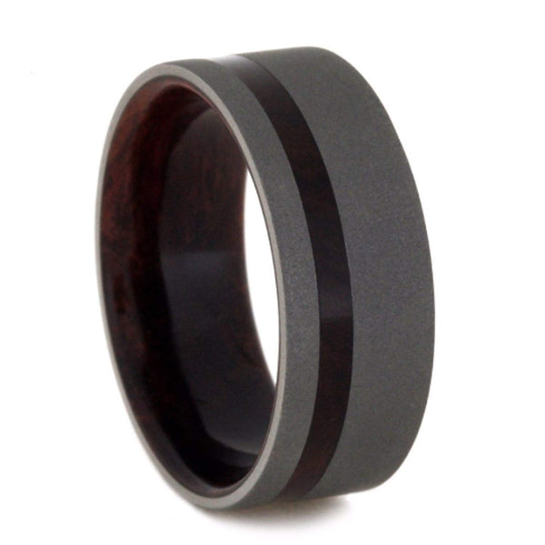Titanium Sandblast 9mm Comfort-Fit Honduran Rosewood Burl Wedding Band