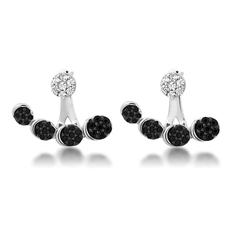 Black and White CZ Ear Climber Rhodium Plated Sterling Silver Stud Earrings