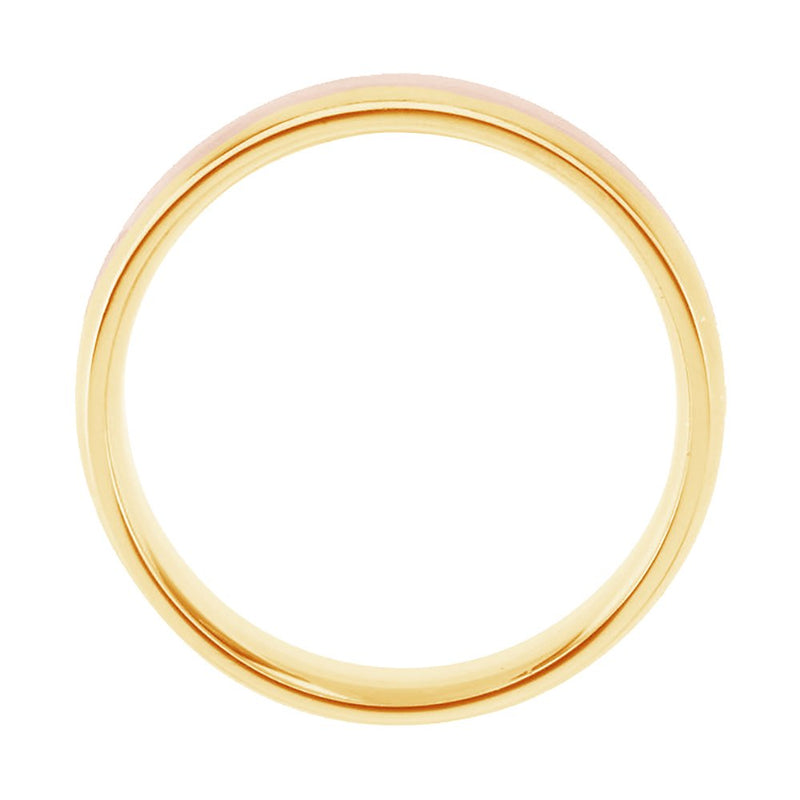 14k Rose and Yellow Gold Satin-Brushed 6mm Comfort-Fit Two-Tone Band