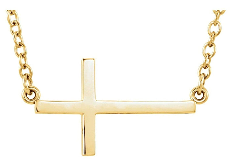 "Sideways Cross 14k Yellow Gold Necklace, 16-18"" (22X11.5 MM)"