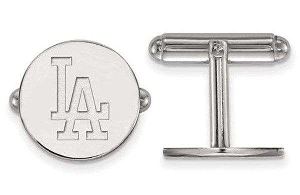 Rhodium-Plated Sterling Silver MLB Los Angeles Dodgers Round Cuff Links,15MM