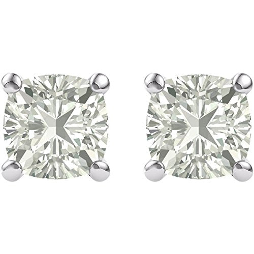 Charles and Clovard 14k Yellow Gold Antique Square Moissanite Solitaire Earrings