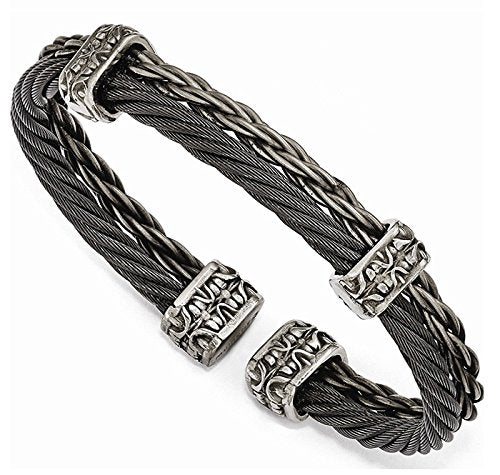 Men's Thorn Collection Gray Titanium Black Memory Cable and Black Titanium Cuff Bangle Bracelet, 7""