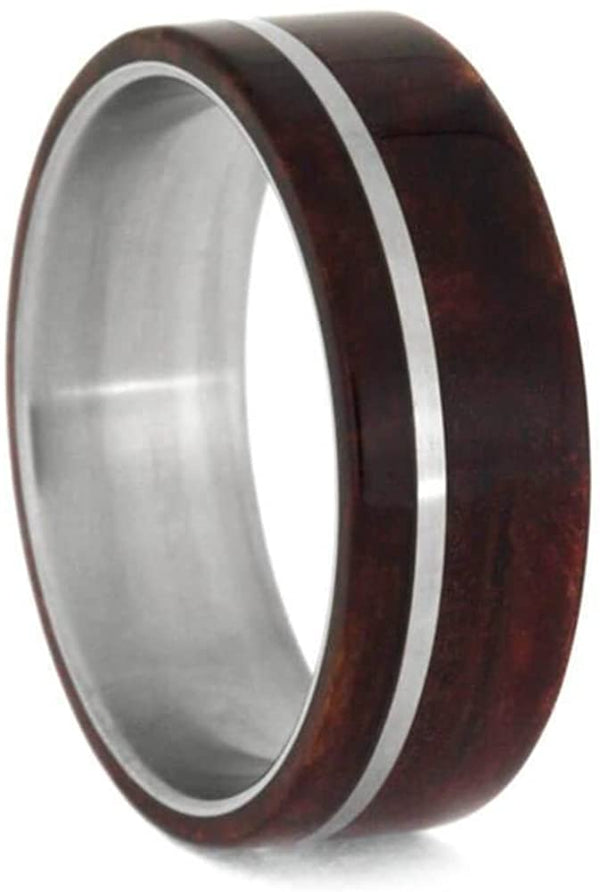 Ruby Redwood 8mm Matte Titanium Comfort-Fit Wedding Ring, Size 4