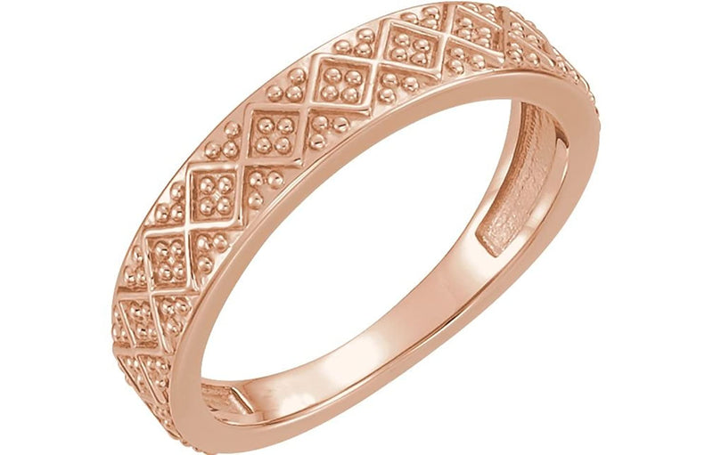 Beaded Design 4.4mm Stacking Band, 14k Rose Gold