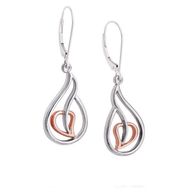 Blooming Hearts Dangle Earrings, Rhodium Plated Sterling Silver, 10k Rose Gold