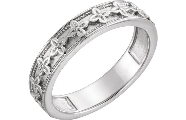 Vintage-Style Floral Brocade 4.5mm Stackable Ring, Rhodium-Plated 14k White Gold