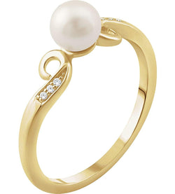 White Freshwater Cultured Pearl and Diamond Ring, 14k Yellow Gold (5.00MM) (.02 Ctw, H+ Color, I1 Clarity)
