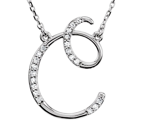 "Diamond Initial Letter 'C' Rhodium-Plated 14k White Gold Pendant Necklace, 17"" (GH, I1, 1/10 Ctw)"