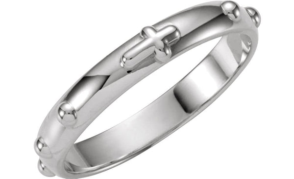 Rosary Ring, 14k White Gold 4mm, Size 10
