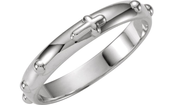 4mm Platinum Rosary Ring, Size 5