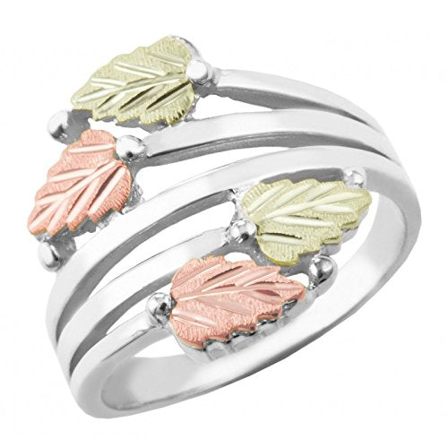Twin Bypass Layered Vines Ring, Sterling Silver, 10k Yellow Gold, 12k Green and Rose Gold Black Hills Gold Motif