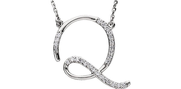 "Diamond Initial Letter 'Q' Rhodium-Plated 14k White Gold Pendant Necklace, 17"" (GH, I1, 1/6 Ctw)"