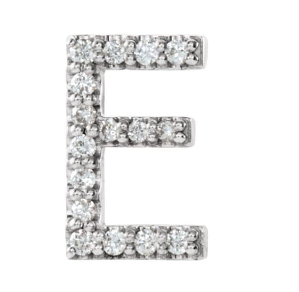 Sterling Silver Diamond Letter 'E' Initial Stud Earring (Single Earring) (.06 Ctw, GH Color, I1 Clarity)