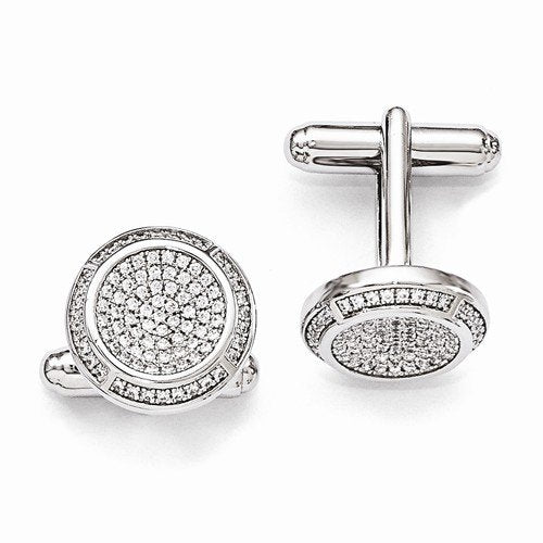 Sterling Silver and Cubic Zirconia Brilliant Embers Coin Cuff Links, 16MM