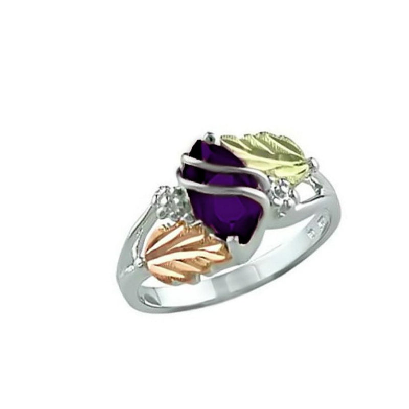 Marquise Created Amethyst February Birthstone Ring, Sterling Silver, 12k Green and Rose Gold Black Hills Gold Motif