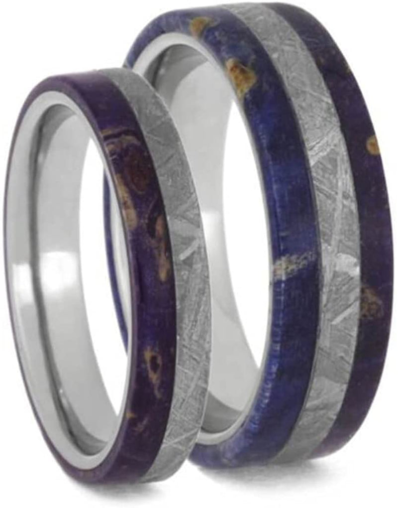Gibeon Meteorite, Purple Box Elder Burl Comfort-Fit Titanium Couples Wedding Rings Size, M8.5-F5.5