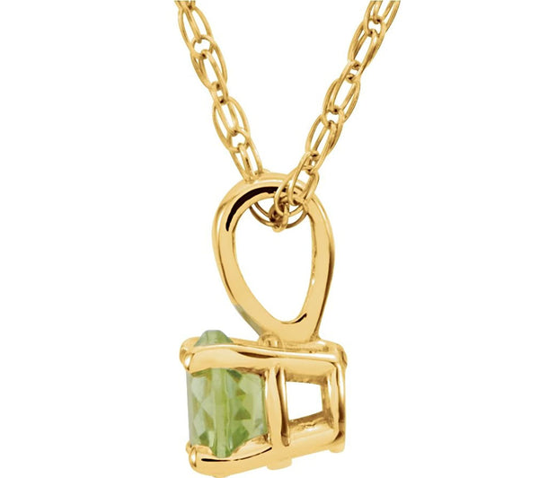 Children's Imitation Peridot 'August' Birthstone 14k Yellow Gold Pendant Necklace, 14""