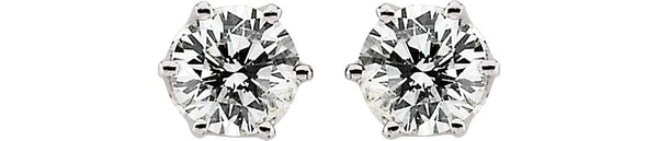 cubic zirconia Stud Earrings, Rhodium-Plated 14k White Gold