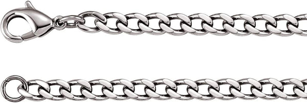 4.8mm, Men's Stainless Steel Curb Chain with Lobster Clasp 20""