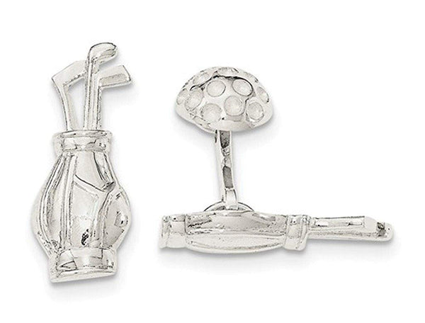 Sterling Silver Polished Reversible Golf Clubs and Ball Cuff Links,