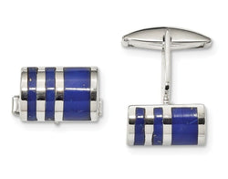 Sterling Silver Lapis Cuff Links, 25.8X16.4MM