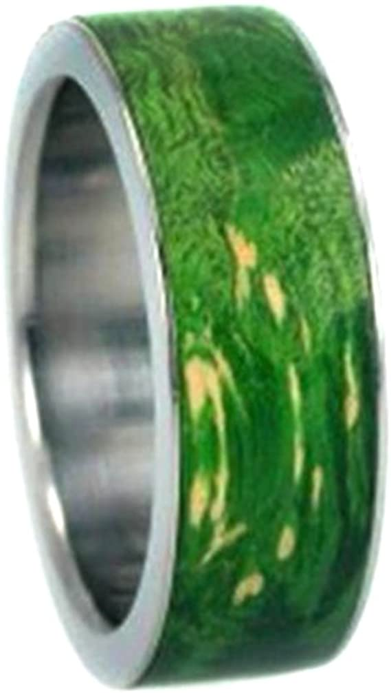 Interchangeable Wood Ring with Peridot Burl Wood Inlay 8 mm Comfort Fit Titanium Band, Size 16