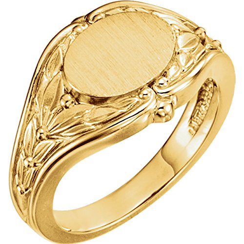 Women's Oval Floral Embossed Semi-Polished 14k Yellow Gold Signet Ring, Size 6 (10.2MM)