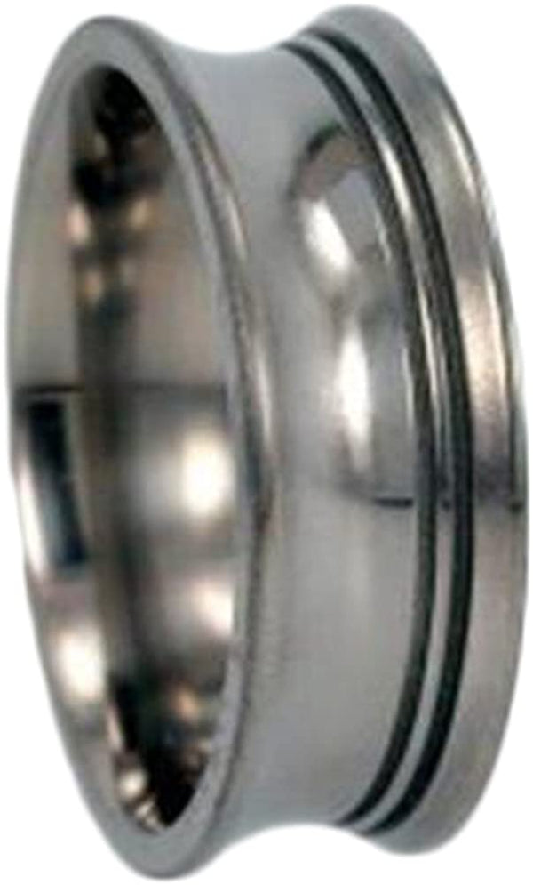 Inverted Grooved 10mm Comfort Fit Titanium Wedding Band, Size 6.5