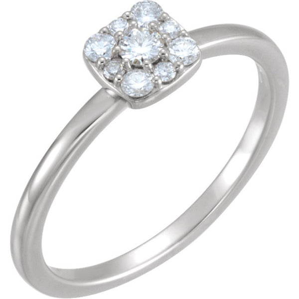 Diamond Stackable Square Cluster Ring, Rhodium-Plated 14k White Gold (.25 Ctw, G-H Color, I1 Clarity), Size 6.25