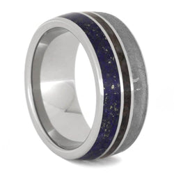 The Men's Jewelry Store (Unisex Jewelry) Gibeon Meteorite, Lapis Lazuli, Dinosaur Bone 9.5mm Titanium Comfort-Fit Wedding Band