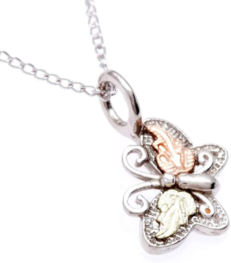 Rhodium-Plate Sterling Silver Butterfly Pendant Necklace, 12k Rose and Green Black Hills Gold