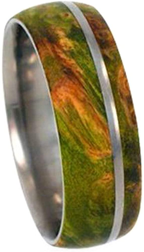 Peridot Box Elder Burl Wood 8mm Comfort-Fit Dome Titanium Band, Size 6.25