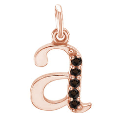 Smoky Quartz Initial 'a' Lowercase Alphabet Letter 14k Rose Gold Pendant